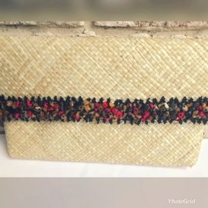 Handbags - Straw Clutch Bag Beaded Snap Closure See pics
